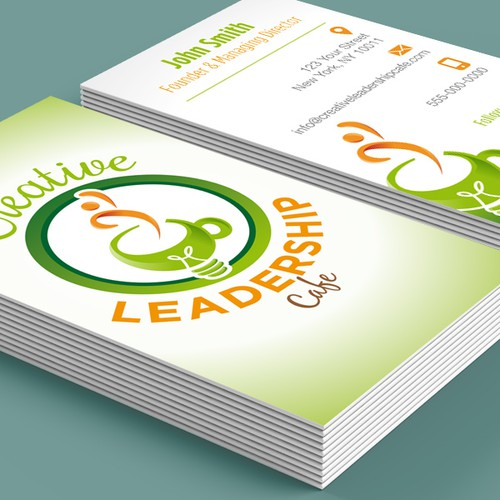 Logo and business card for Creative Leadership Cafe