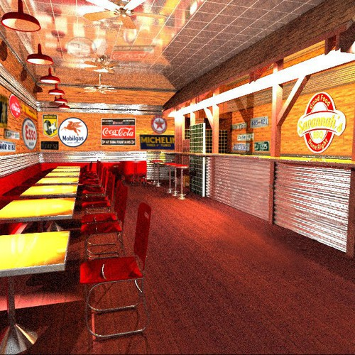Create the next art or illustration for Retail BBQ fast food chain - need rendering of store interior and outside
