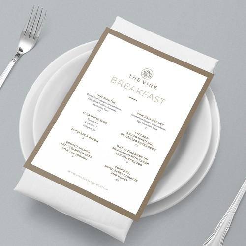Elegant menu design for French cuisine restaurant