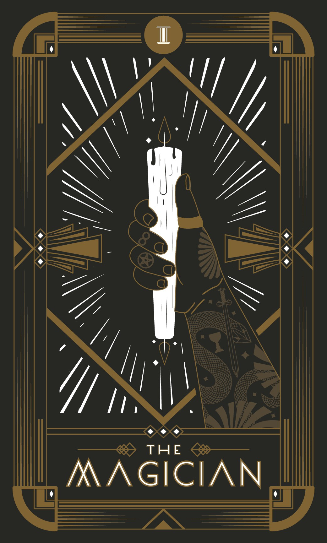 Create a modern, art deco inspired update on The Magician tarot card