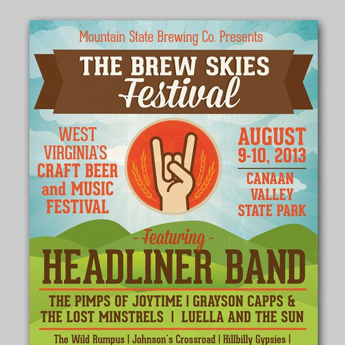 Music Festival Poster for Mountain State Brewing Co.