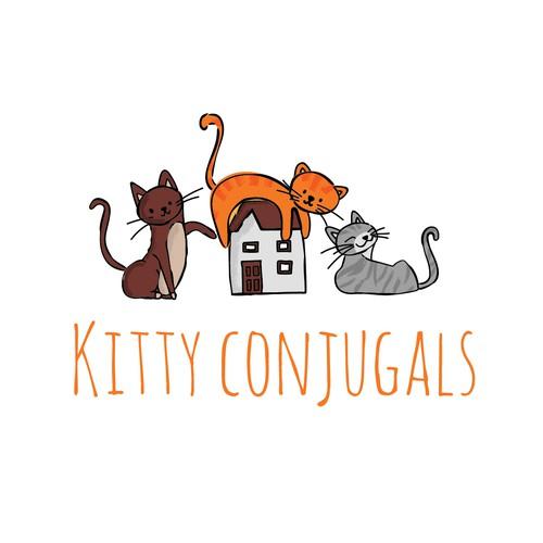 Whimsical cat sitter logo
