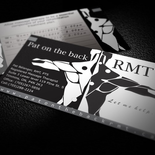 Create the next logo and business card design for Pat on the Back RMT