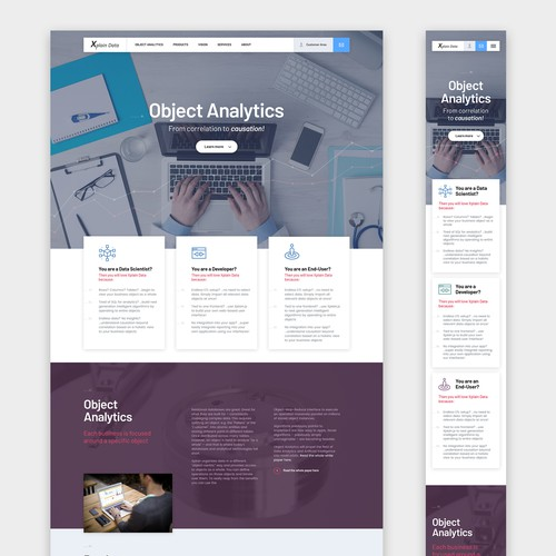A colorful yet subtle responsive Big data company website