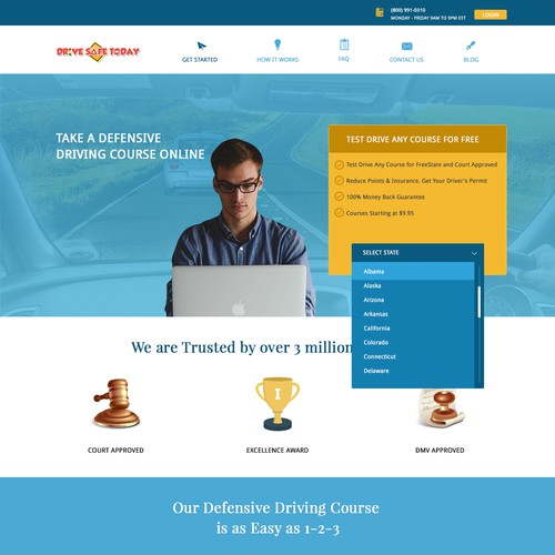Online Defensive Driving Course Wordpress Theme Design