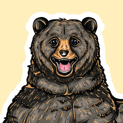 Cute Bear Hitchhiking Sticker