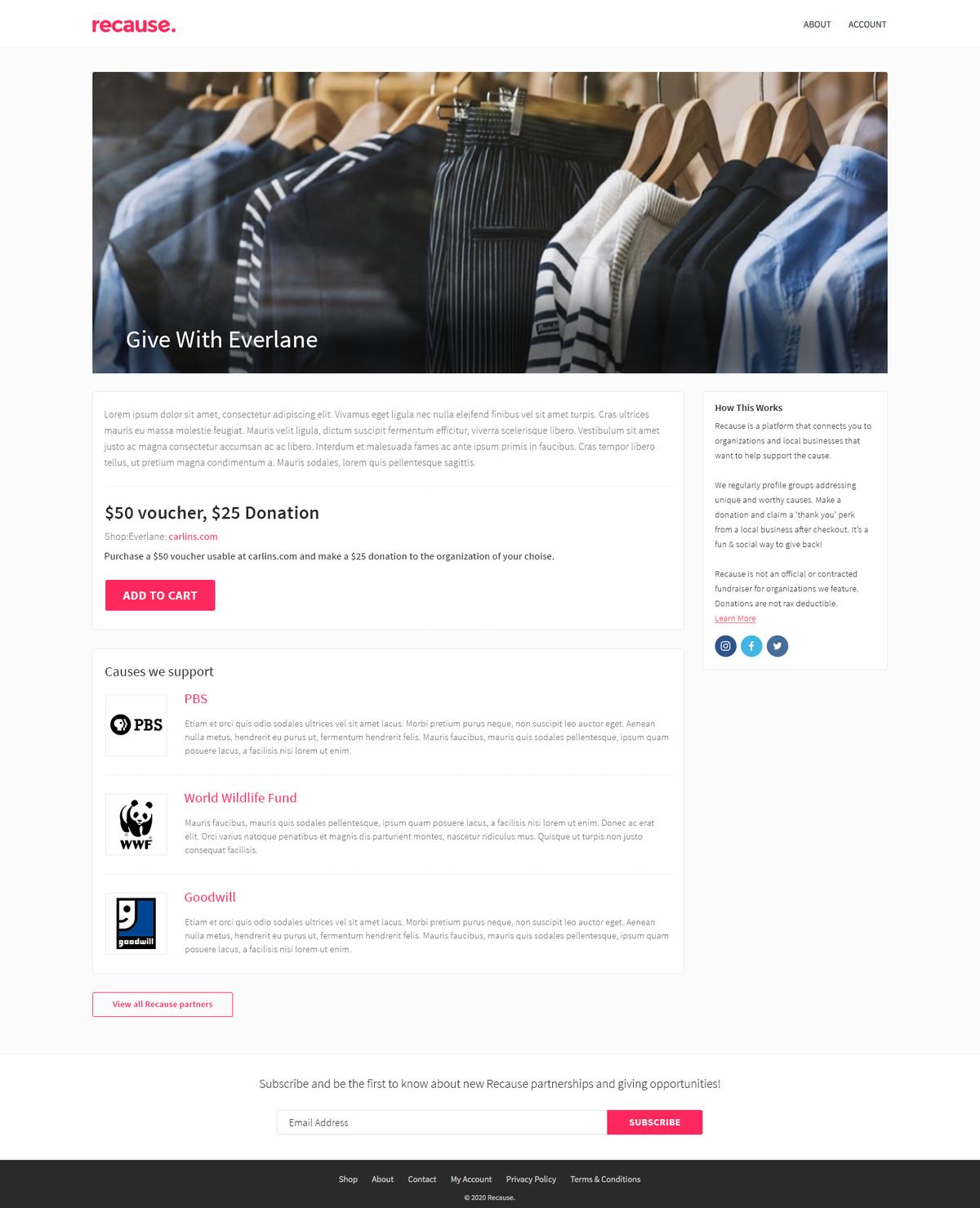 Recause - page layout
