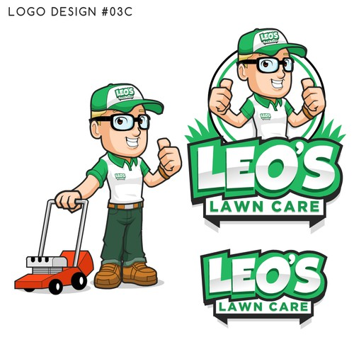 Fun Mascot logo for Leo's Lawn Care