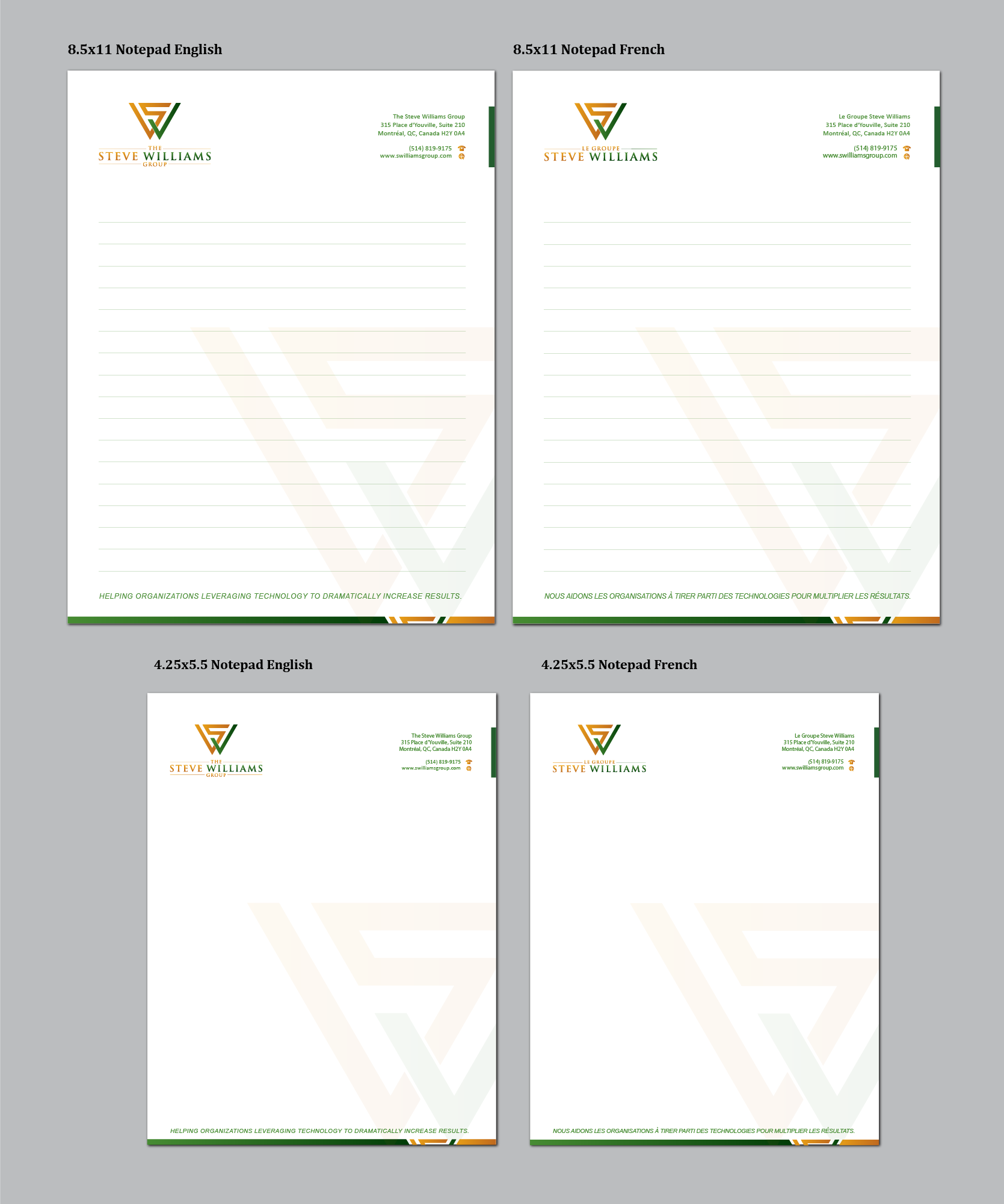 Create the next stationery for The Steve Williams Group / Le Groupe Steve Williams