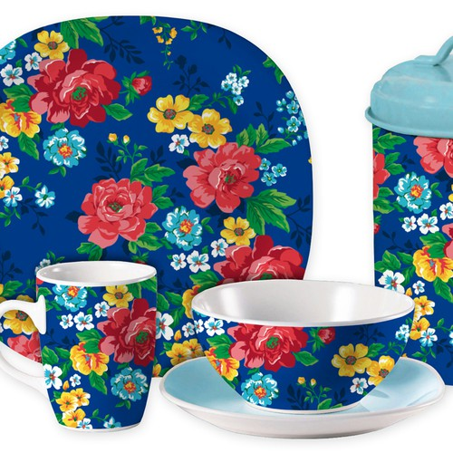 Floral Design for Home Accessories and Tableware for UK and US market