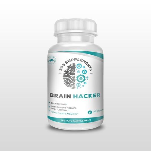 Brain Hacker label design