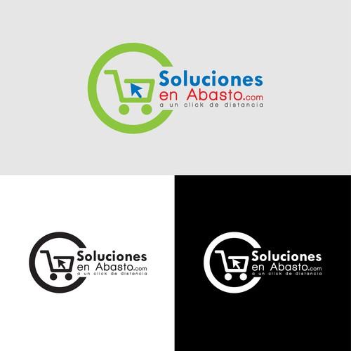 Crea un logo para Soluciones en Abasto, pedidos en linea de abarrotes, Coffe Break y Jarcieria