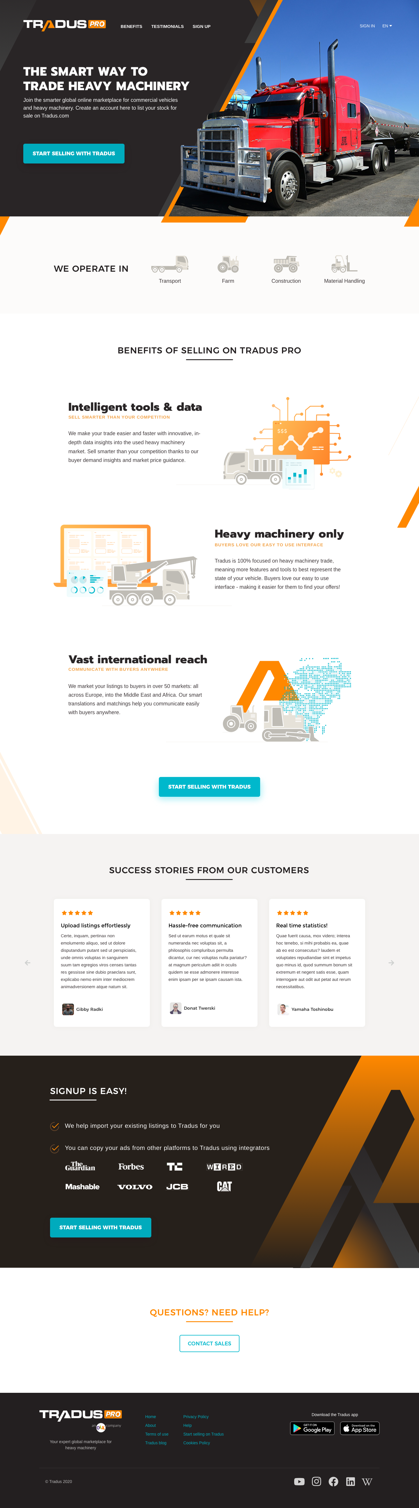 Landing page for sellers of used heavy machinery