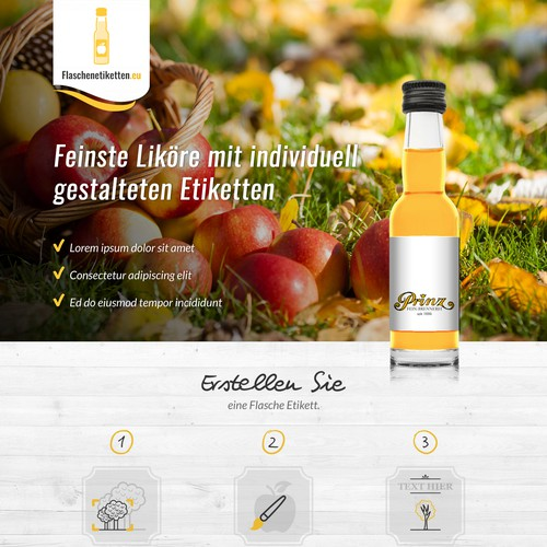 Landing page for flaschenetiketten.eu