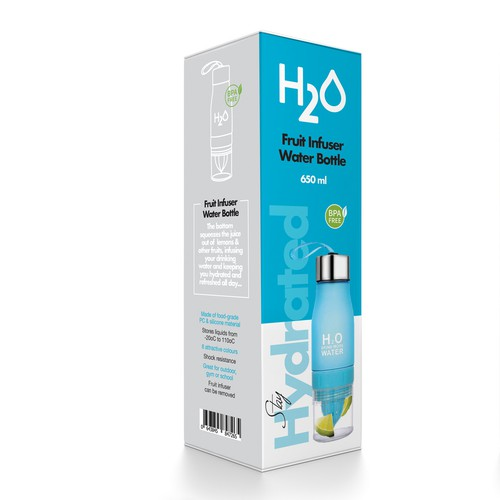 Packaging design for a fruit infuser water bottle