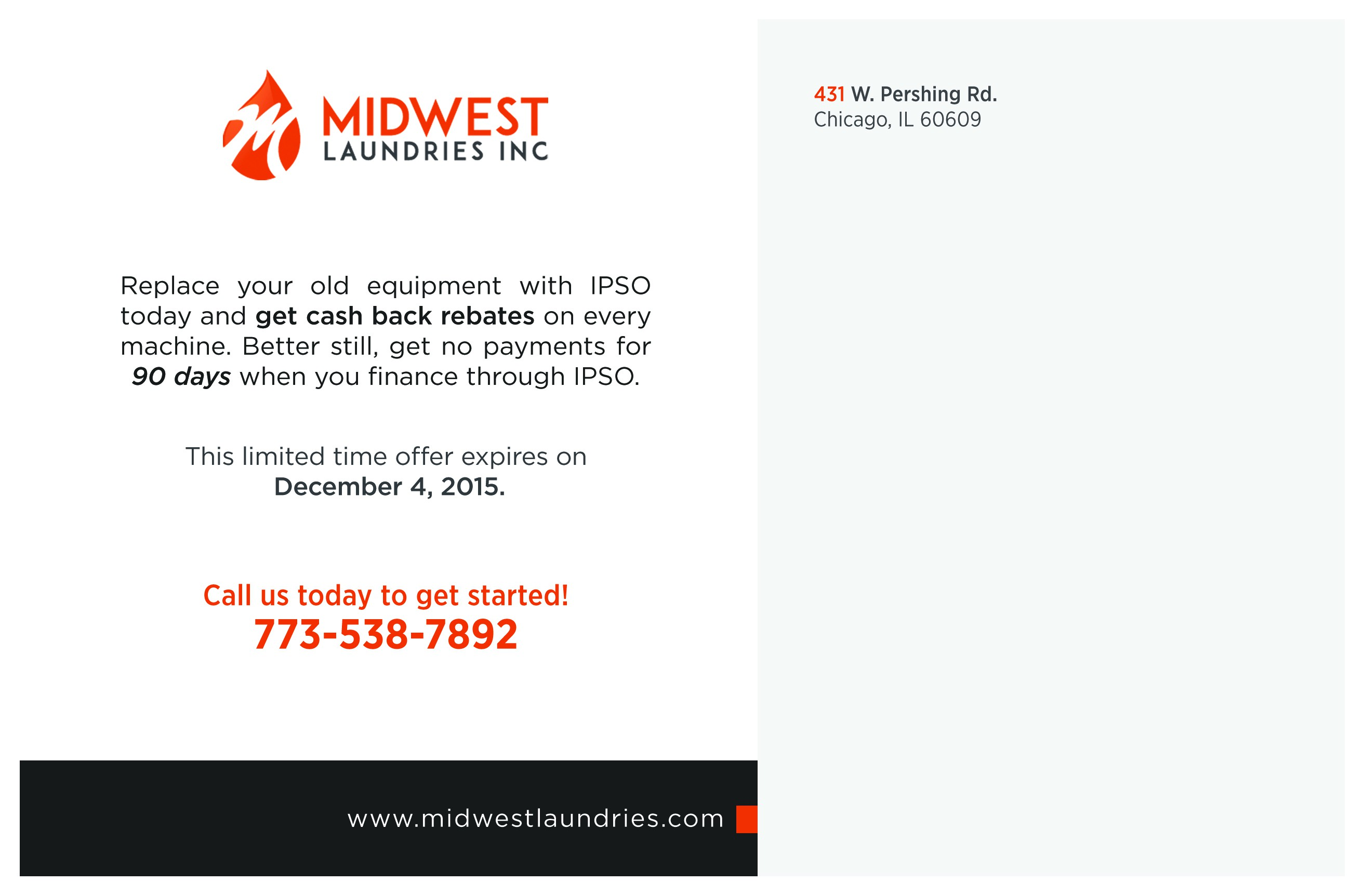 Create Minimalist Postcard Mailing for Industrial Laundry Distributor