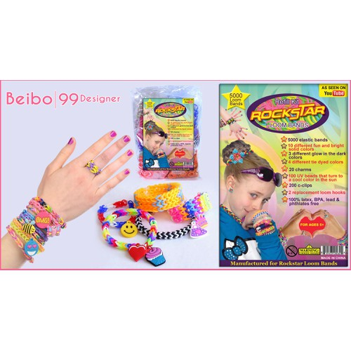 product label for Rockstar Loom Bands-Rubber band refill kit
