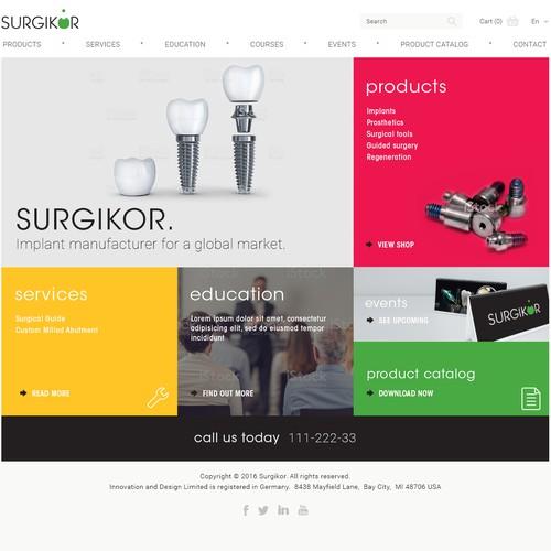 Minimal home page for dental implant manufacturer