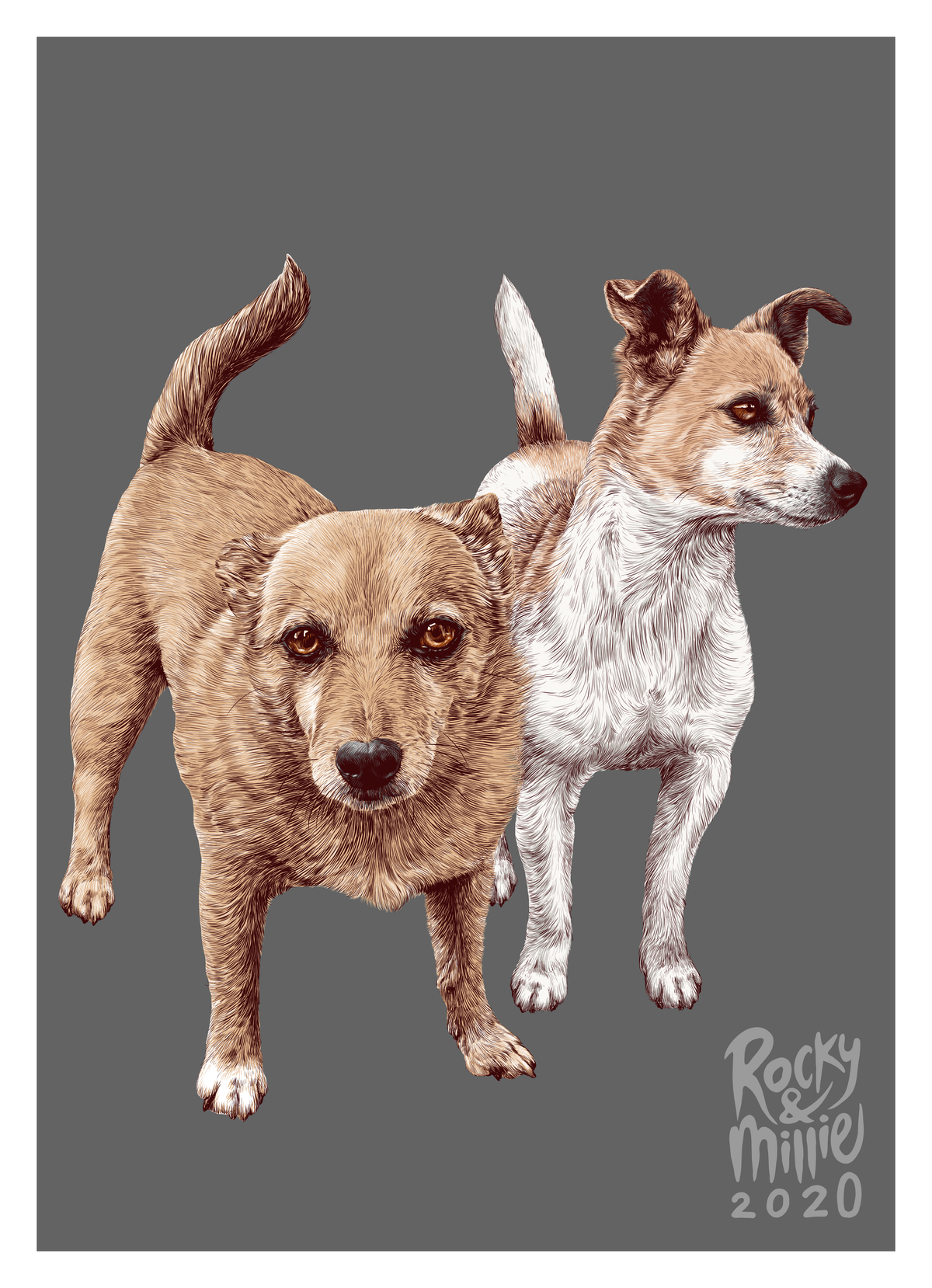 Illustration of 2 pet dogs as a gift for family
