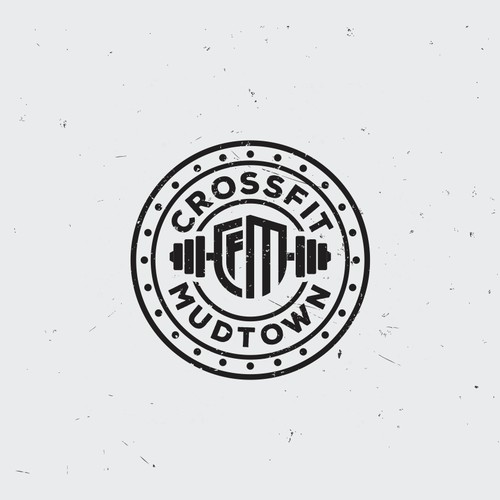 Create a gritty yet streamlined logo/emblem for CrossFit Mudtown