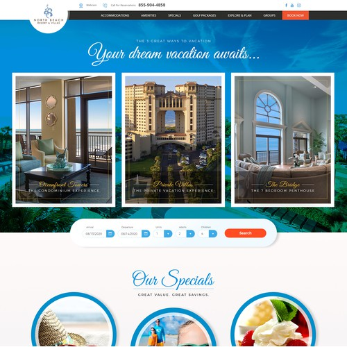 Website Design for the famous 'North Beach Resort & Villas'