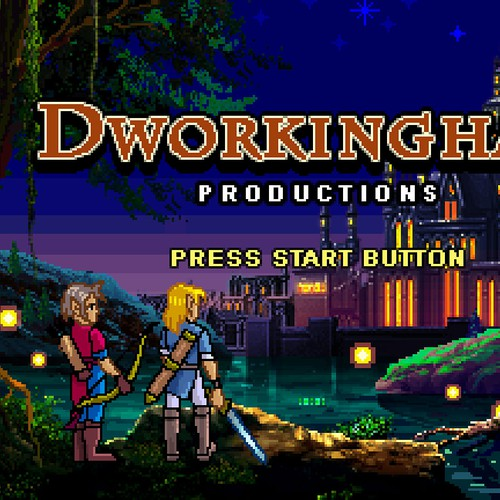 Dworkingham Productions title logo (Nighttime)