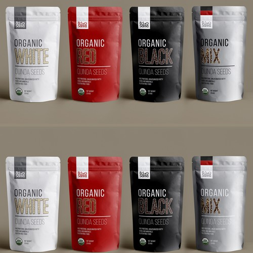 minimalistic quinoa seeds packaging