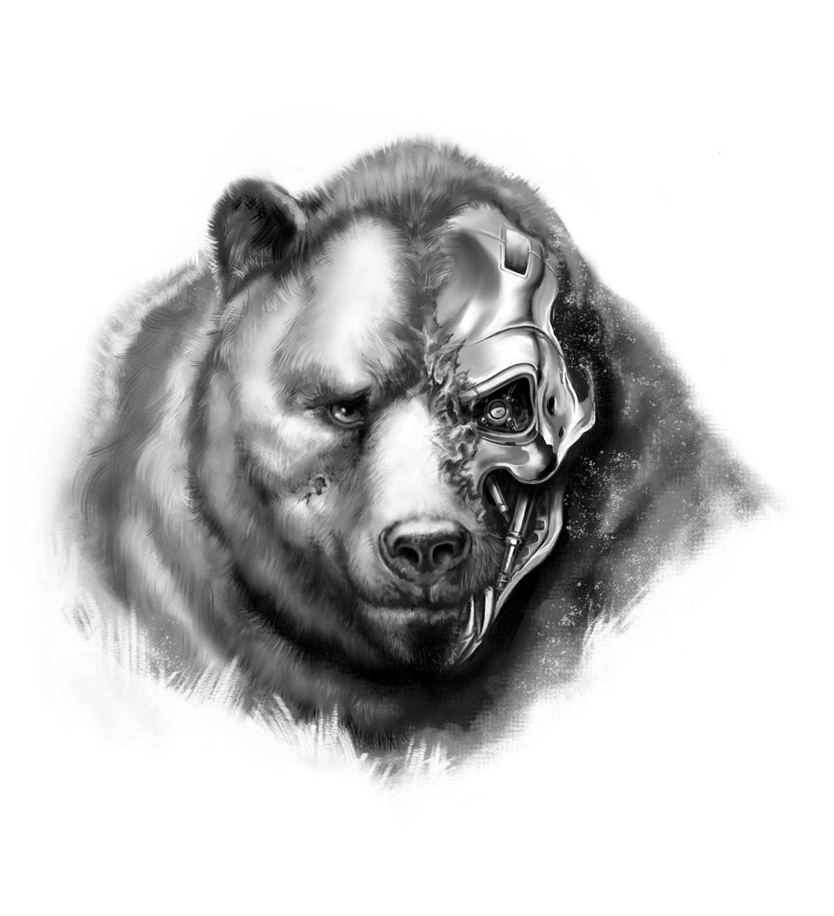 Tattoo design: draw a cybernetic bear!