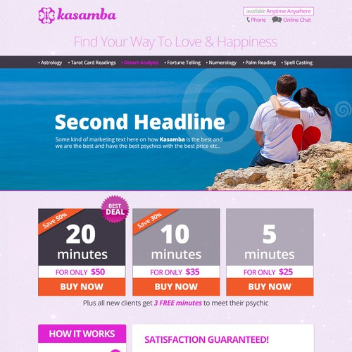 Create a winning landing page for an online psychic website