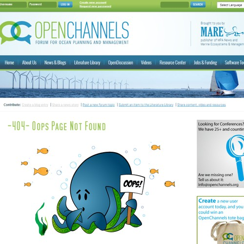 """Accidental Octopus """"page not found"""" icon for OpenChannels website"""
