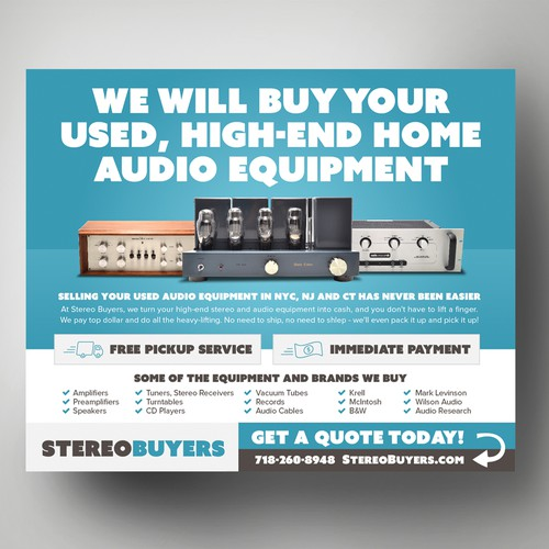 Design Challenge: We buy high-end stereos - can you help us spread the word?!