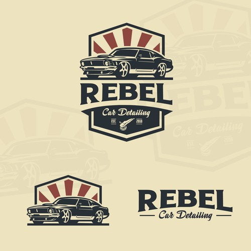 Bold muscle car logo for Rebel Car Detailing