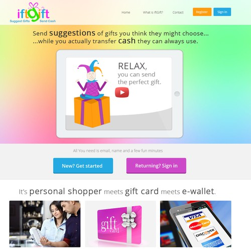 Create a beautiful landing page for an innovative gift and financial services site
