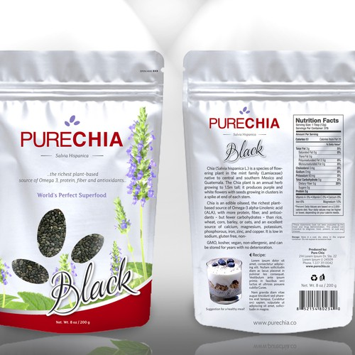 Please help Pure Chia with a New Package Design