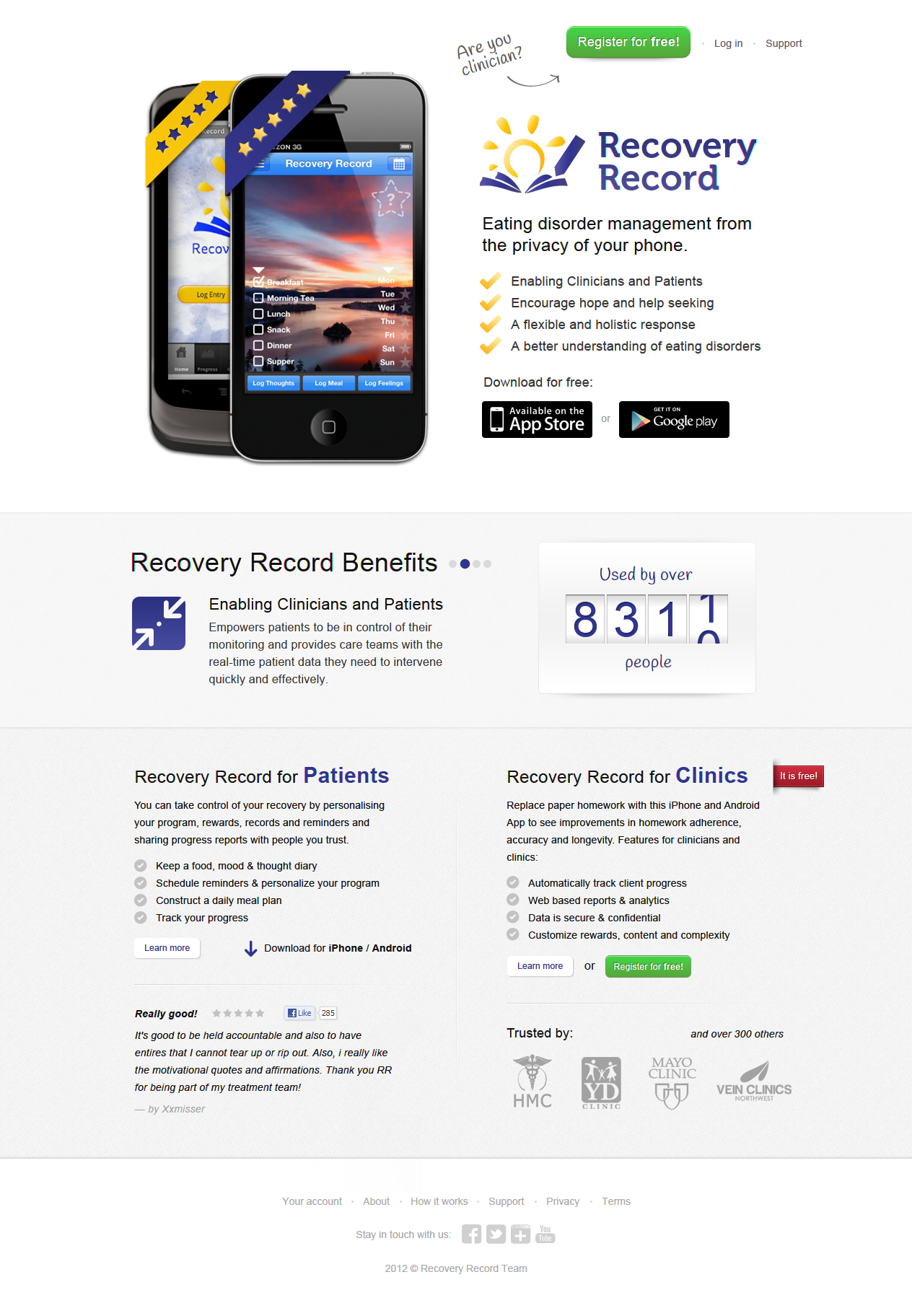 Recovery Record (Eating Disorder Management - iPhone/Android) needs a new landing page