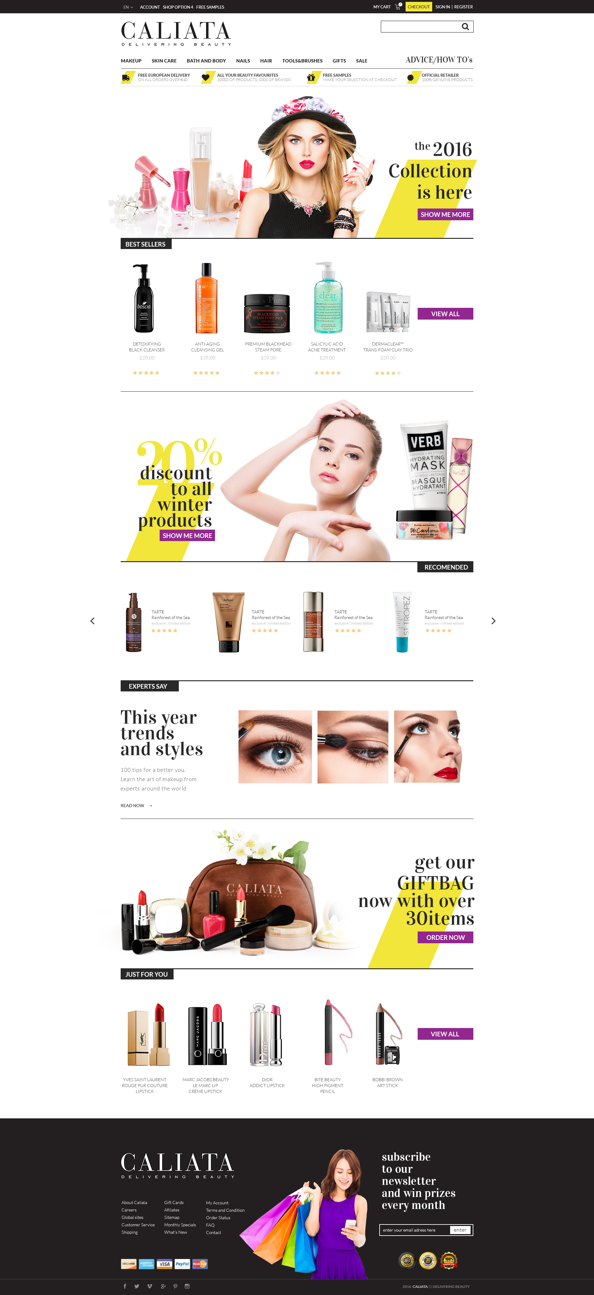 Design of an e-commerce site selling beauty products