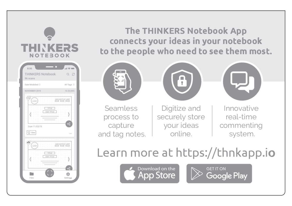 Thinkers Notebook First Sheet and shipping box