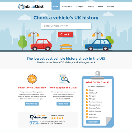 Vehicle Auto Car Check Website Design