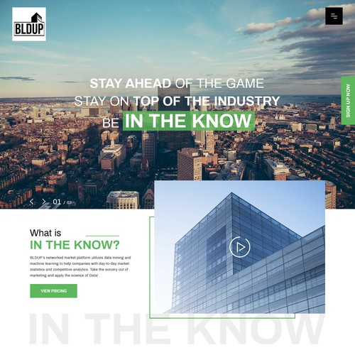 IN THE KNOW Landing page design