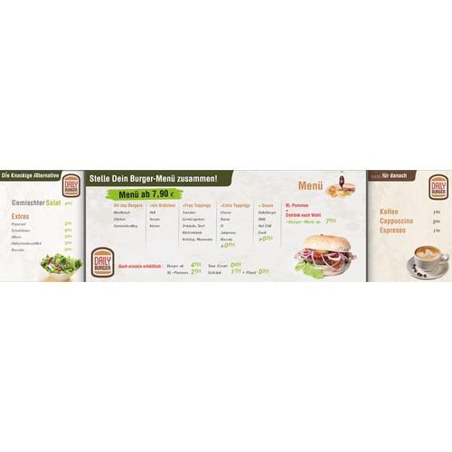 3 Angebotstafeln für ein Burger-Restaurant
