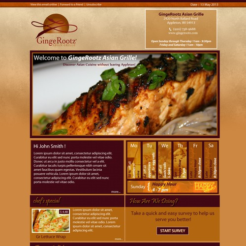 Create the next design for GingeRootz Asian Grille