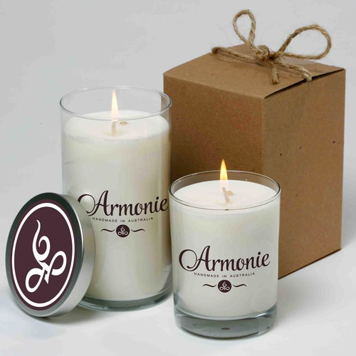 Logo for a brand new candle company - Armonie Candles - Handmade Soy Candles, based in South Australia.