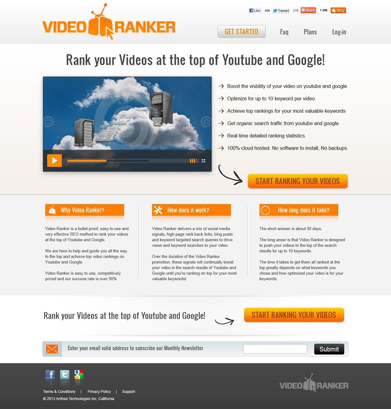 Create the next website design for VideoRanker
