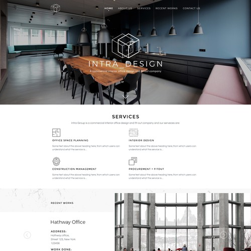 Home page concept for Intra-Design