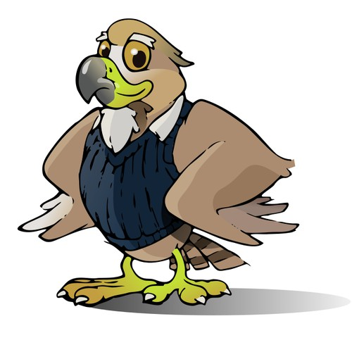 Kid friendly Hawk mascot that will promote Hawks rising to excellence not birds of prey