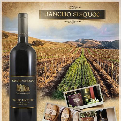Print ad design for wine brand