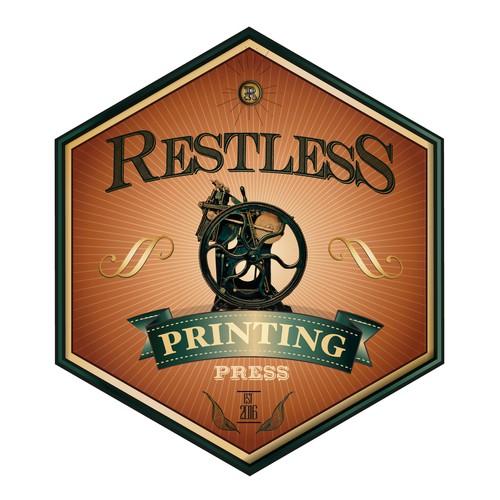 RETRO SIGN FOR RESTLESS PRINTMAKING STUDIO