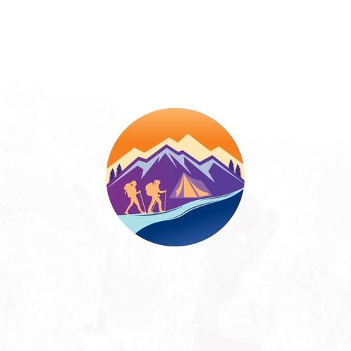 Woman Hiking and Yoga Logo Design
