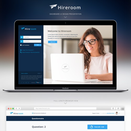 Hireroom - dashboard design