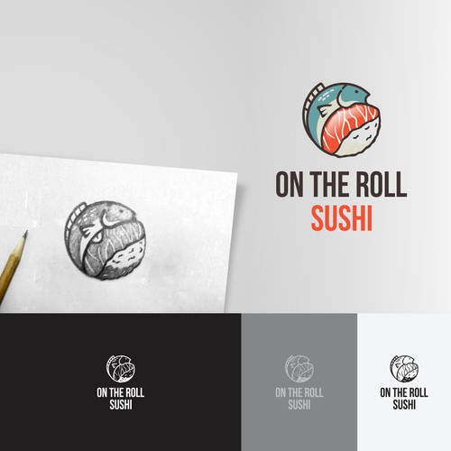 ON THE ROLL SUSHI logo design